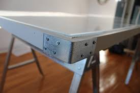 Small Glass And Metal Computer Desk by Sawhorse Desk With Glass Top Best Home Furniture Decoration