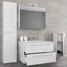 vcm 5 tlg waschplatz badmöbel badezimmer set waschtisch waschbecken schubladen keramik badinos spiegelschrank breite 80 cm weiß
