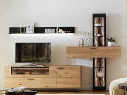 hartmann runa wohnwand kombi 20 massivholz kerneiche natur applikation rinde tv unterteil regal hängeschrank wandbord beleuchtung wählbar