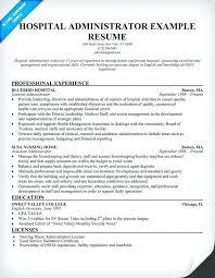Sample Higher Education Administration Resume Hospital Administrator Medical