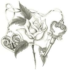 Lock And Key Drawing Drawings Of Flowers Hearts Heart Roses Tattoo
