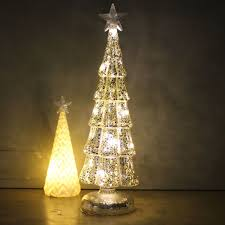 LARGE GLASS CHRISTMAS TREE ORNAMENT WITH LED LIGHTS