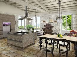 White Rustic Kitchen Design With Vaulted Ceiling Pendant Lamps Over Island Butcher Block Seating