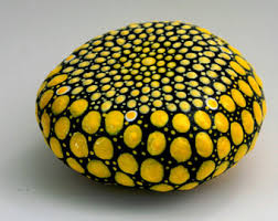 Yellow Painted Rock Dot Painting Kitchen Decor Art