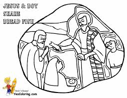 Coloring Of Jesus And Boy Share Bread Fish At YesColoring
