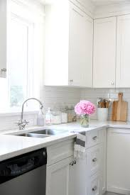 cabinets benjamin cloud white subway tile from home depot
