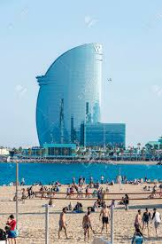 100 The W Hotel Barcelona Spain June 1 2016 Beach Full Of People