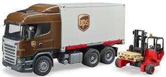 Bruder Toys Scania R-Series UPS Logistics Truck W/ Forklift 03581 ...