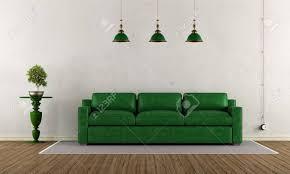 klassisches wohnzimmer mit grünem ledersofa und sockel mit bonsai 3d rendering