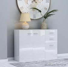 hochglanz wohnzimmer sideboard in weiß