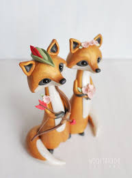 Fox Wedding Cake Topper Robin Hood Themed Polymer Clay Keepsake For Original