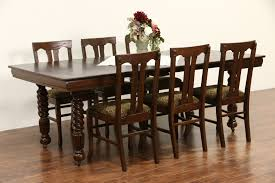 Ideas Of Sold Oak 1900 Antique Square Dining Table 4 Leaves 5 Spiral ... Tiger Oak Fniture Antique 1900 S Tiger Oak Round Pedestal With Ding Chairs French Gothic Set 6 Wood Leather 4 Victorian Pressed Spindle Back Circa Room 1900s For Sale At Pamono Antique Ding Chairs Of Eight Chippendale Style Mahogany 10 Arts Crafts Seats C1900 Glagow Antiques Atlas Edwardian Queen Anne Revival Table 8 Early Sets 001940s Extendable With Ball Claw Feet Idenfication Guide