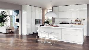 Fabulous Glossy White Cabinets And Island For Open Kitchen Decoration Ideas With Bowl Pendant Lights Wooden Floor Plans