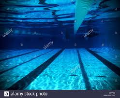 Underwater View Of Two Swimmers Competing In Adjacent Lanes From Far Length Olympic Size 25 Meter Swimming Pool