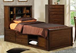 Twin Captains Bed With 6 Drawers by Bedroom Brown Stained Wooden Boys Captain Bed With Tall Headboard