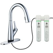 Kitchen Faucet Water Glacier Bay Eagleton Single Handle Pull Sprayer Kitchen Faucet With Water Filter In Chrome Hd67540 1001 The Home Depot