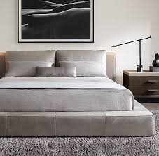 King Platform Bed With Leather Headboard by Drommen Acacia Bed With Leather Headboard Cb2 Regarding Incredible
