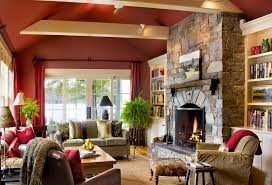 Firewood Decor Living Room Rustic With Red Walls White Wood Vaulted Ceiling