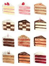Cake Slice Flavors Menu Watercolor Chart Painting 2 9 x 12 Bakery Layer Cakes Laduree