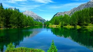 Mountain Nice Clear Calm Reflection Sky Quiet Grass Rocks Beautiful Tranquil River Summer Shore Crystal Lovely