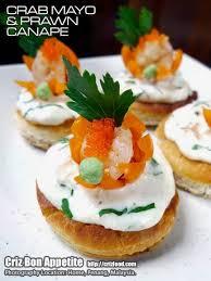 crab canapes crab mayonnaise prawn canape with wasabi criz bon appetite