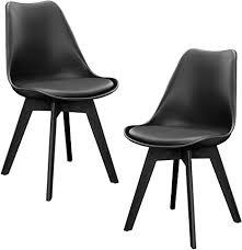 en casa 2er set design esszimmerstühle 83 x 48cm schwarz kunstleder stühle stuhl esszimmerstuhl esszimmer wohnzimmerstuhl küchenstuhl