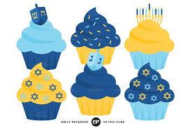 Hanukkah Cupcakes Clipart Illustrations