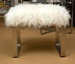 Attractive Vanity Stools Suit Your Table Fluffy With Chrome Legs And Carpet