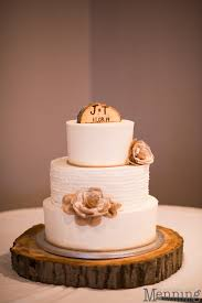 Rustic Wedding Cake With Wood Stump Topper