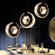 Led Crystal Chandelier Bar Lamp Round Dining Room Lights Table Hanging Line Simple Ring Circle Light Glass Pendant Lamps