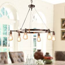 Rustic Dining Room Light Fixtures Chandelier Brushed Nickel Ceiling Round 6 Bulb