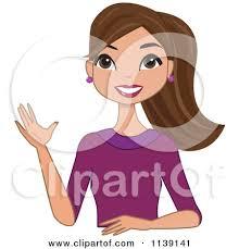 Cartoon A Beautiful Friendly Brunette Woman Waving Royalty Free Vector Clipart by peachidesigns