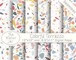 Colorful Terrazzo Digital Wallpaper Designs Italian Stone Texture Tile Patterns Paper Pack Colored