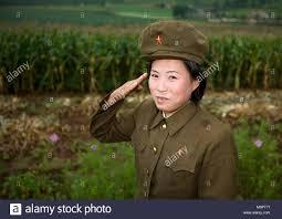 North Korean Female Soldier Saluting In The Countryside Hwanghae Province Kaesong Korea