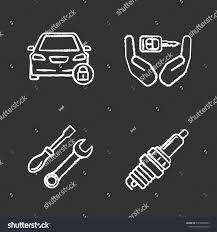 Auto Workshop Chalk Icons Set Locked Stock Vector (Royalty Free ...