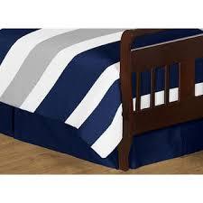 Sweet Jojo Designs Navy Blue and Gray Stripe Toddler Bedding 5pc