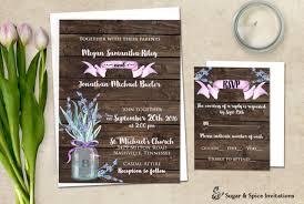 Via Rustic Wedding Invitation Mason Jar Lavender Invite Printable Barn Design Files