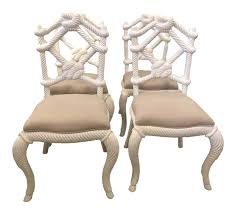 100 Side Dining Chairs Product WorldClass Vintage Nautical White Lacquered Wood Rope