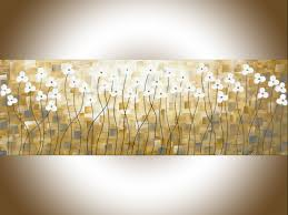 Early Spring By QIQIGallery Original Painting Abstract Yellow Home Decor Wall Art Narrow Gray Flowers Palette Knife Canvas Hangings
