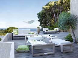 Green Cushions Color And Impressive Scanery Plus White Modern Patio Furniture On Modular Floor