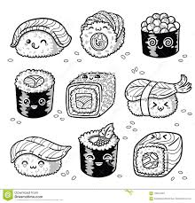 Kawaii Rolls And Sushi Manga Cartoon Set In Outline Stock Vector