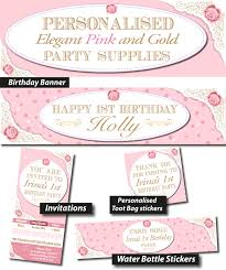 Pink And Gold Birthday Themes by Personalised Elegant Pink And Gold Birthday Party Banner Decorations