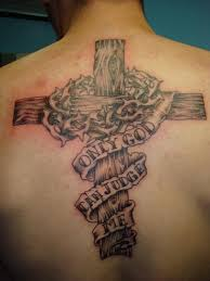 Big Barbed Wooden Cross Tattoo For Men