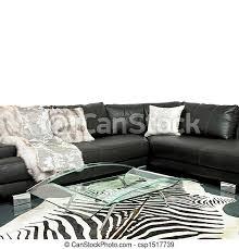 zebra lebensraum wohnzimmer mit zebrahaut und ledersofa