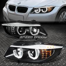 Black 3d Crystal Halo Projector Headlight LED Corner For 0608 BMW