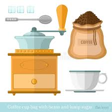 Download Flat Coffee Cup Bag Spoon Lump Sugar Beans Mill Icon Stock Vector