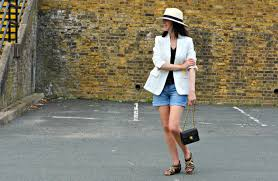 white blazer with denim shorts retrochicmama