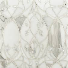 white rivershell embedded in calacatta gold marble elysium