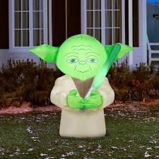 Outdoor Halloween Decorations Walmart by Gemmy Airblown Inflatable 4 5 U0027 X 4 5 U0027 Star Wars Yoda Walmart Com