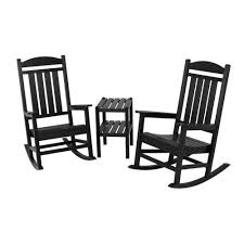 POLYWOOD Presidential Black 3-Piece Patio Rocker Set ... Surprising Oversized White Rocking Chair Decorating Baby Outdoor Polywood Jefferson 3 Pc Recycled Plastic Rocker 10 Best Chairs Womans World Presidential Black 3piece Patio Set Hanover Allweather Pineapple Cay Porch Good Looking Gripper Cushions Ding Room Xiter Bamboo Adjustable Lounge Leisure Iron Alloy Waterproof Belt Parryville Classic Wicker Wood